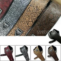 Adjustable Leather Guitar Strap Embossed for Acoustic Electr