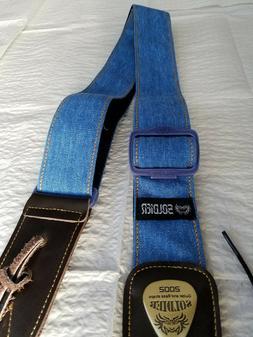 Soldier 2002 BLUE DENIM Adjustable Guitar Strap!! FREE USA S
