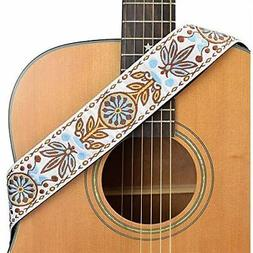 CLOUDMUSIC Floral Guitar Strap with Free Guitar Picks