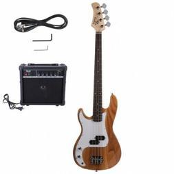Glarry GP Electric Bass Guitar Burlywood Guitar W/ Bag Pick