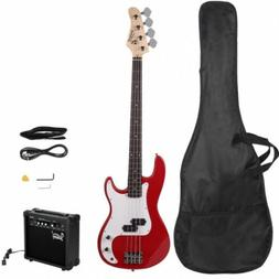Glarry GP Electric Bass Guitar Red W/ Bag Pick Strap &Access