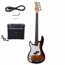 GP Electric Bass Guitar Sunset Guitar W/ Bag Pick Strap &Acc