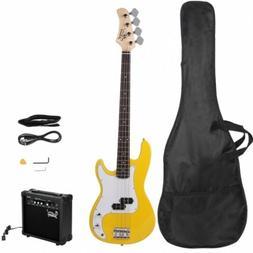 Glarry GP Electric Bass Guitar Yellow W/ Bag Pick Strap &Acc