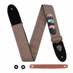 Guitar Strap 100% Soft Cotton Genuine Leather Ends Strap Pic