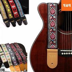 guitar strap embroidered adjustable vintage woven bass