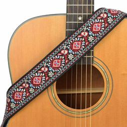 CLOUDMUSIC Guitar Strap Floral Patterns Jacquard Woven With