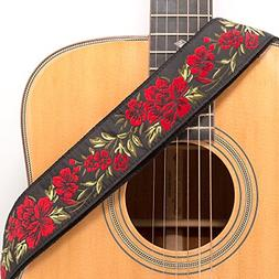 Guitar Strap Red Rose Pattern Jacquard Woven With Black Leat