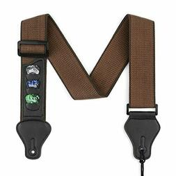 Guitar Strap with 3 Pick Holders 100% Soft Cotton Strap For