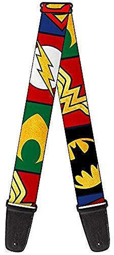Buckle-Down GS-WJL078 Guitar Strap - Justice League 5-Superh