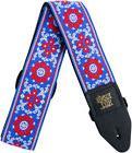 Blue Red Guitar Strap Ernie Ball Blossom Jacquard Weave Hoot