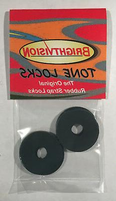 Ebony Black Rubber Guitar Strap Locks - Grolsch Style - Clas