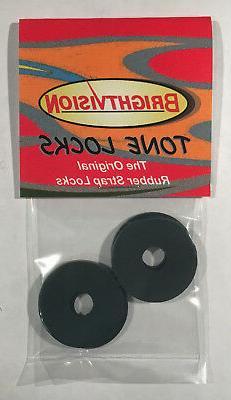 Ebony Black Rubber Guitar Strap Locks - Grolsch Style - Clas