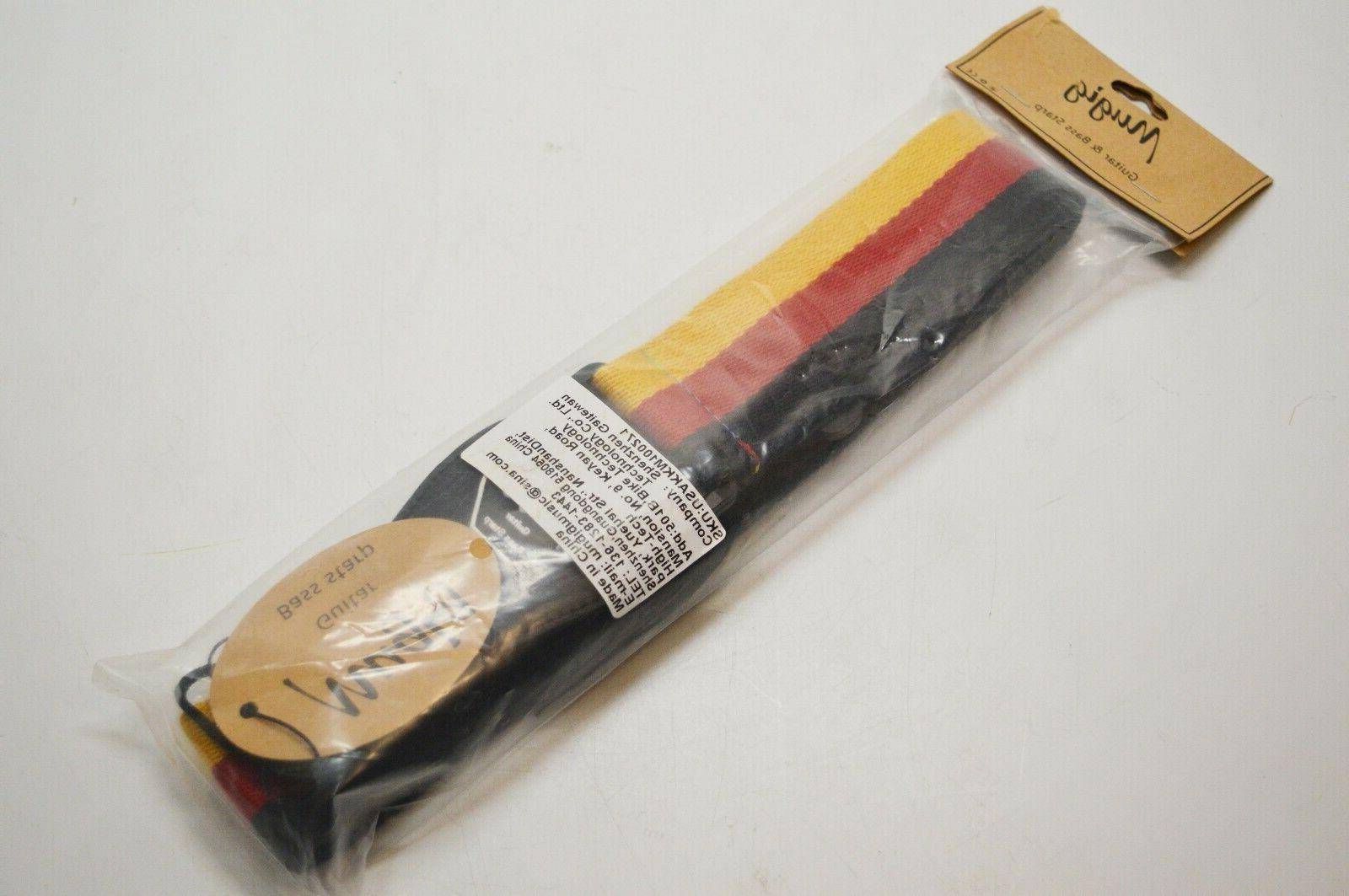 GUITAR BASS STRAP GERMANY FLAG WEATHERED WITH LEATHER ENDS