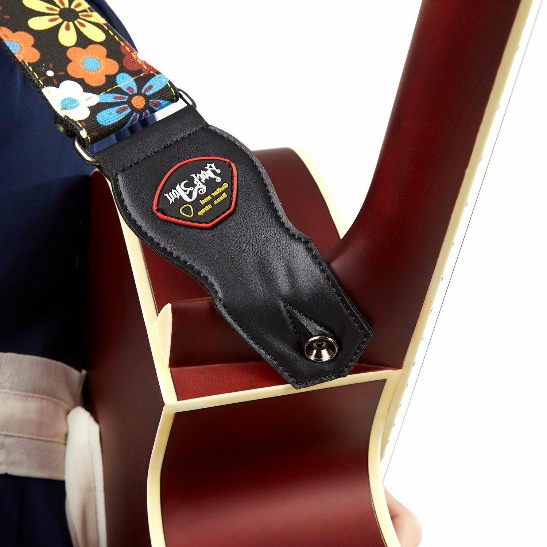 Guitar Adjustable Soft Cotton Strap Guitar Brown