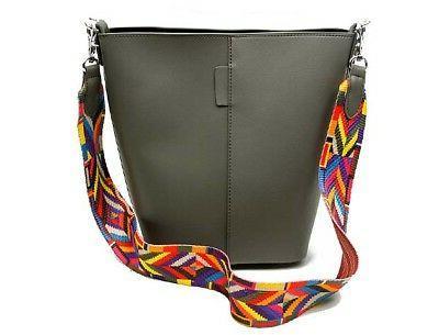 Womens Grey Strap Body Bucket Bag Multi Coloured