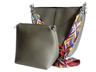 womens grey aztec guitar strap shoulder bag