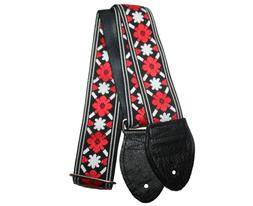 "New! Souldier 2.0"" Tulip Red and Black Custom Guitar Strap"