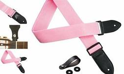 TimbreGear Pink Kids Guitar Strap with FREE STRAP BUTTON AND