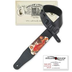 Walker & Williams CVG-162 Black Leather Padded Guitar Strap