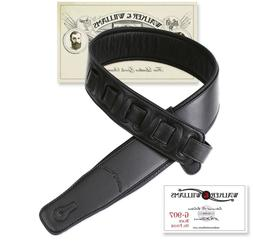 Walker & Williams G-907 Black Padded Guitar Strap with Soft